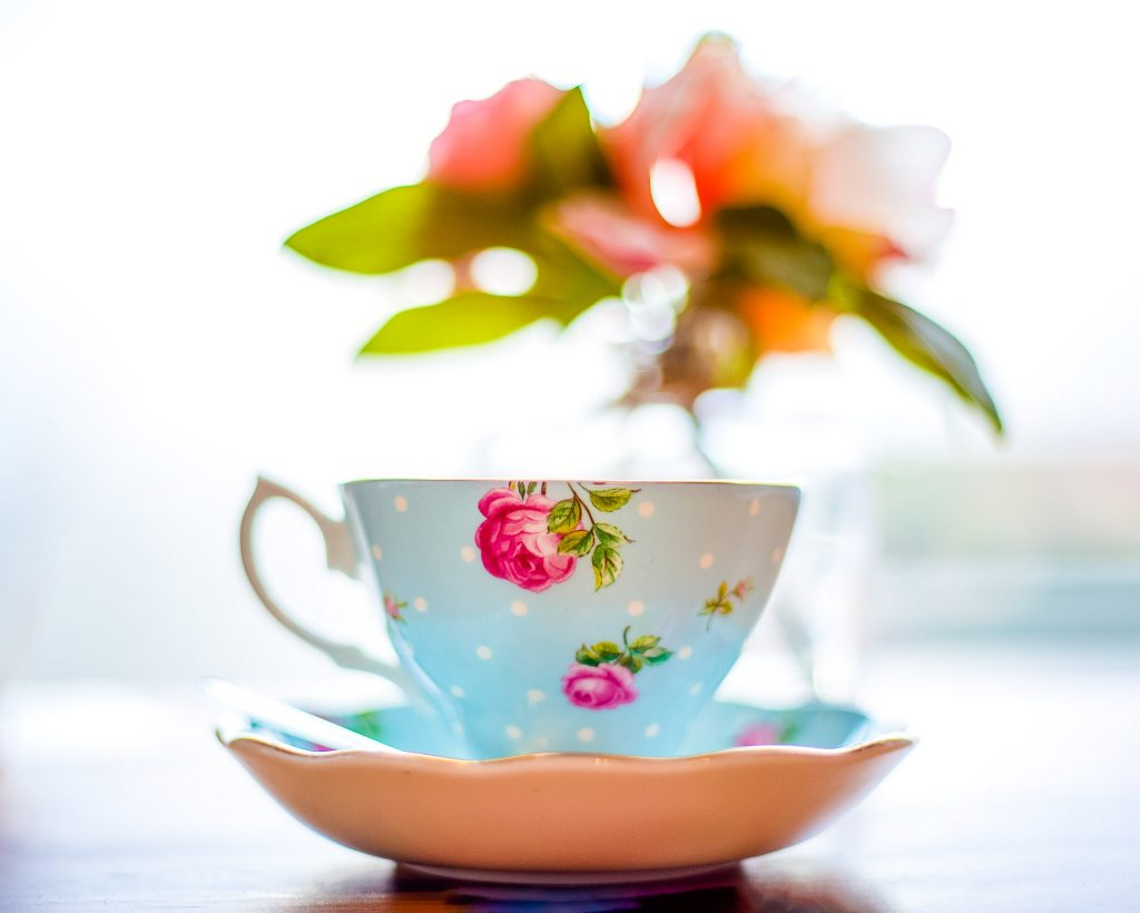teacup, saucer, spoon and flowers in vase - pixelight-photography-cannock-wolverhampton-cheslyn-hay-newborn-photos-baby-children-wedding-family-portraits